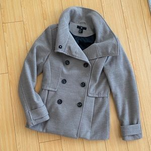 H&M double breasted peacoat beige tan size 6